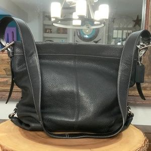 Coach Black Pebbled Leather Shoulder Bag